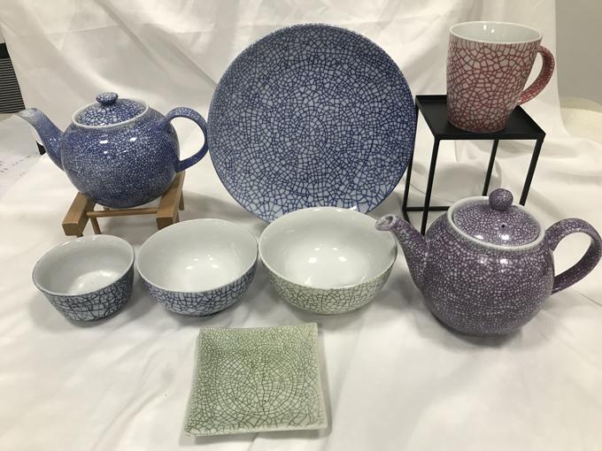 釉下彩色裂纹日用陶瓷系列(杯、碟、碗、壶、盘)
